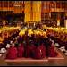 Мне крайне повезло, что разрешили снимать эту церемонию. Это большое исключение. Данная церемония является тайной. Молодые монахи сидели в середине, им еще не позволяется занять места там, где сидят обученные ламы. Чем ближе к алтарю, тем выше мастерство монаха.  Данный монастырь принадлежит к так называемой школе Гелуг (школа желтых шапок). Немного расскажу о этих красивых желтых шапках. После распространения буддизма в Тибете, спустя несколько столетий монашеская дисциплина в Тибете пришла в упадок. Выдающийся учитель Чже Цонкапа (1357-1419) начал реформу, которая привела к появлению традиции «новая кадам», или гелуг. Он предписал своим ученикам-монахам носить желтые шапки. Он объяснил, что это будет знаком возвращения в монастыри Тибета чистой нравственной дисциплины. Таким образом, традиция гелуг также получила известность как традиция «желтых шапок». Монахи других, более старых, тибетских буддийских традиций носят красные шапки, следуя обычаю, принятому у пандитов (ученых наставников) индийского буддийского монастыря Наланда.