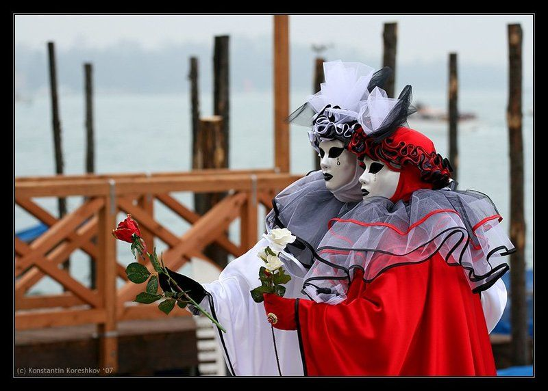 Италия, Венеция, Карнавал, Маски, Italy, Venice, Venezia, Mask, carnival, carnevale Белое и красное (Венецианский карнавал)photo preview