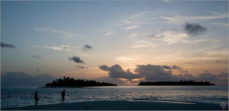 мальдивы острова люди закат Мальдивы, закат ...photo preview