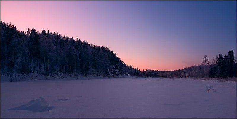 северный, урал, сосьва, закат, зима ...  в нежных красках северных закатовphoto preview