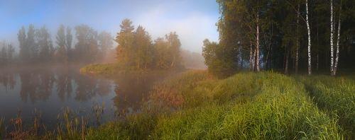 и легкий туман,и тропинка,ведущая в лес.