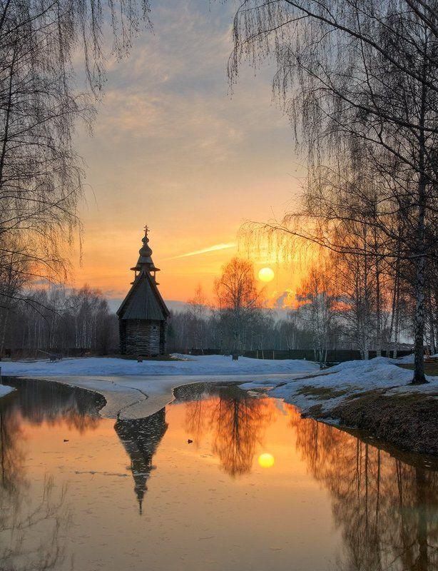 Весна, Восход, Закат, Пейзаж, Церковь Весна, которую так ждалиphoto preview