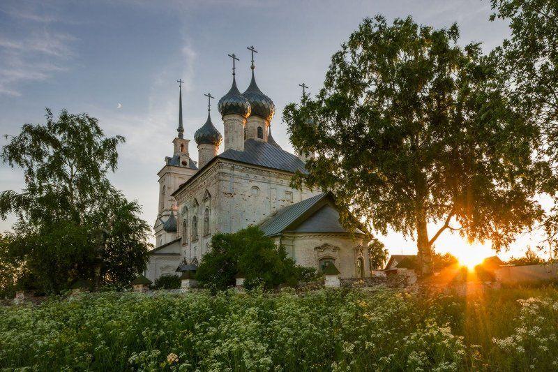 Восход, Закат, Пейзаж, Церковь Теплым вечером на закатеphoto preview