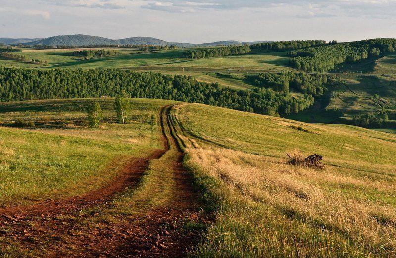 вечер, дорога, пейзаж, холмы Дорога в летний вечерphoto preview