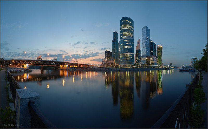 архитектура, вечерняя москва, москва, москва-сити Вечерний город.photo preview