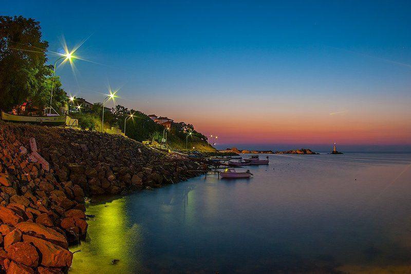 Болгария, Вода, Маяк, Море, Утро, Фонари Ахтопол, Болгарияphoto preview