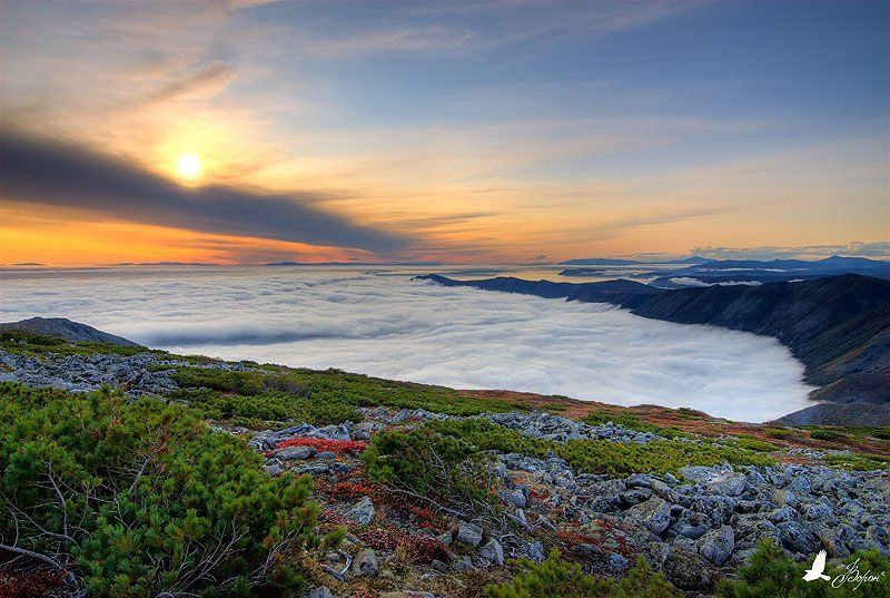 магадан, полуостров старицкого, бухта светлая, туман, закат, осень, охотское море Закат на б.Светлаяphoto preview