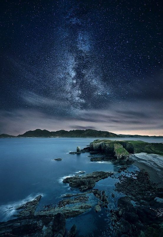 Astrophotography, Atlantic Ocean, Co. Donegal, Colors, Dark, Ireland, Long exposure, Milky way, Mountains, Night, Night sky, Rocks, Stars, Stones Night in Donegalphoto preview