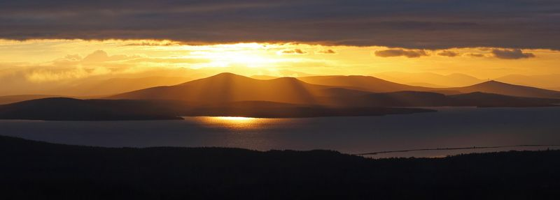 Закат, Золото, Имандра, Мурманская область, Озеро, Хибины Золото Имандрыphoto preview