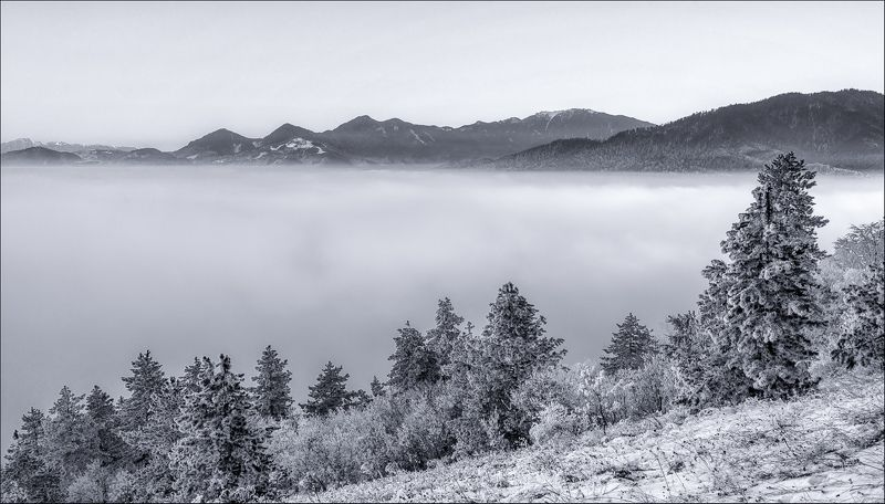Black and white, Clouds, Fog, Landscape, Mountain, Nature photo preview
