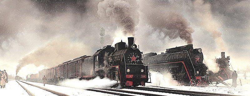 паровоз, серии, л, эр, вагоны, состав, железная, дорога Трое...photo preview