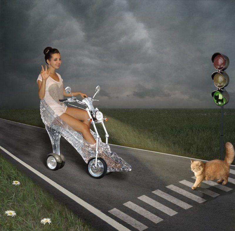 Дорога, переход, светофор, юмор,, Примета, Рыжая кошка, Хрустальная туфелька Про хорошие приметы...photo preview