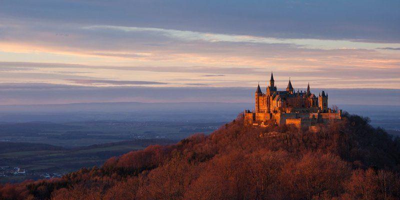Германия, Гогенцоллерн, Закат, Замок, Пейзаж, Путешествие Его Величество Гогенцоллернphoto preview