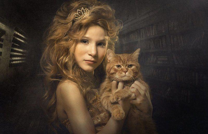 Девочка, Кот, Сказка ******photo preview
