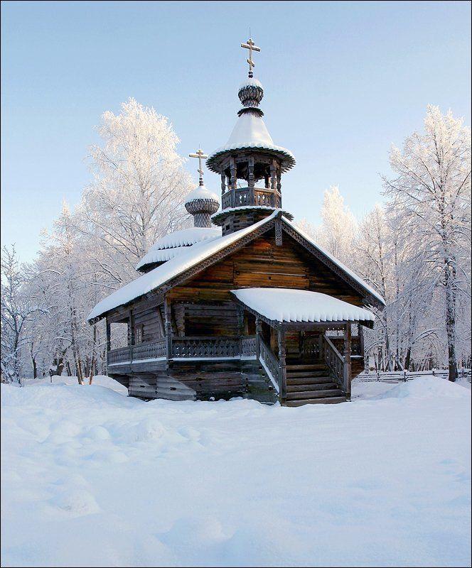 зима, деревянная часовня, великий новгород, витославлицы, photo preview