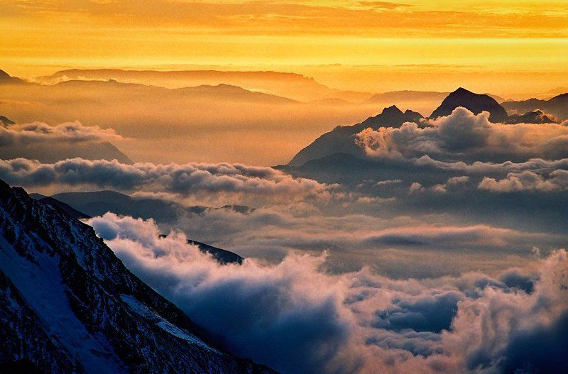Альпы, Горы, Закат, Облака, Франция Французские Альпы в красках закатаphoto preview