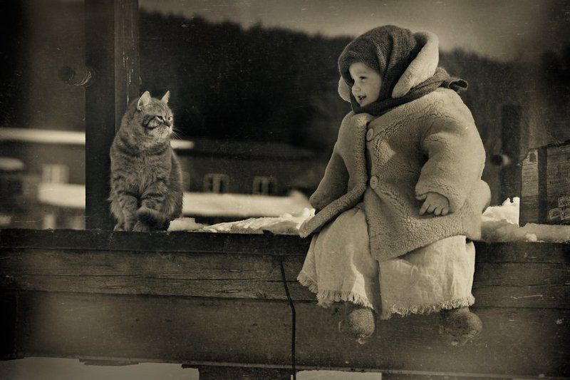 Девочка, Дети, Друзья, Зима, Кот, Чемодан Друзья...photo preview