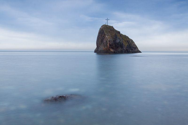 Камень, Крест, Крым, Скала, Тучи, Фиолент, Черное море ***photo preview