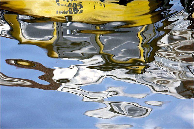 вода, лодка, отражение, Весенняя.photo preview