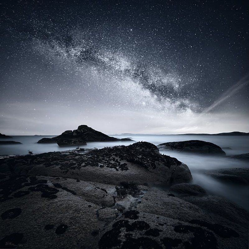 Atlantic Ocean, Co. Donegal, Ireland, Milky way, Night sky, Ocean, Rocks, Stars Co. Donegalphoto preview