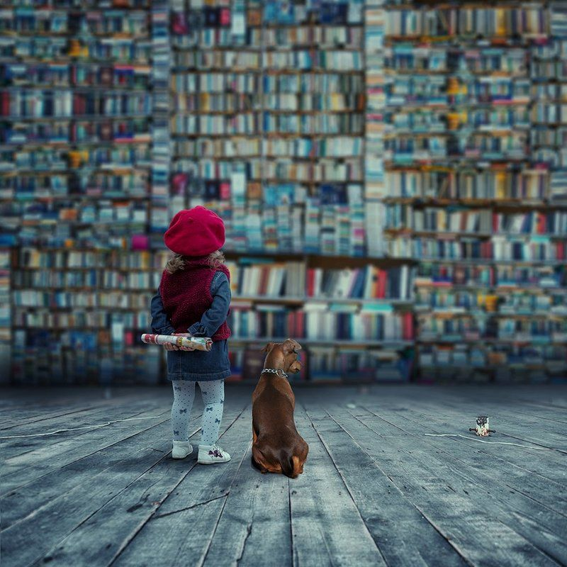 girl, dog, book, newspaper, carasdesign, manipulation, psd, tutorials A world that used to bephoto preview