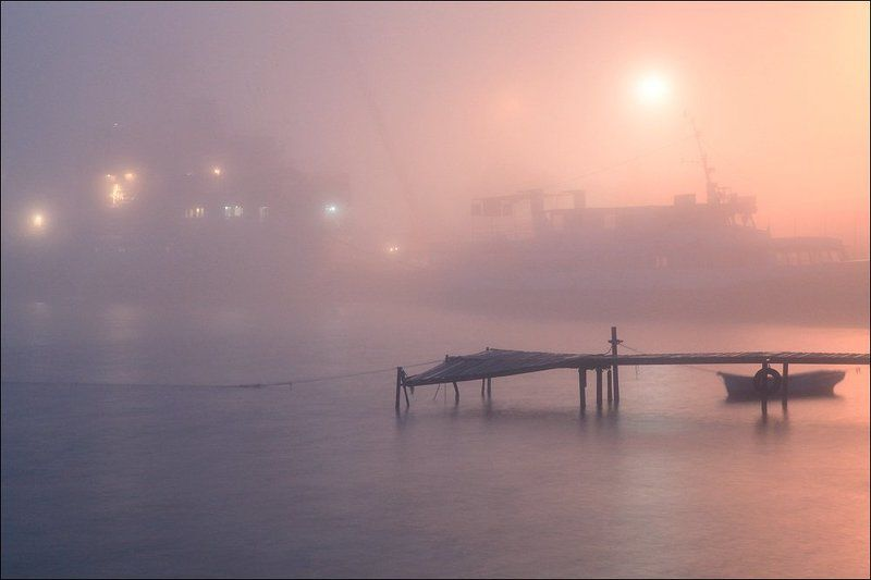 туман, море, порт, Туман в порту.photo preview