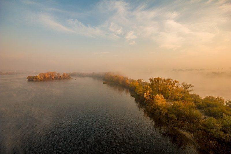 Киев днепр, Осень, Утро туман октябрьские сюрпризыphoto preview