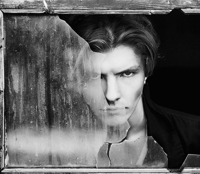 Мужчина, Портрет, Черное-белая фотография photo preview