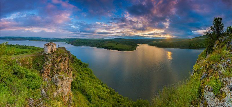 god, place, sunrise, panorama, church, amazing, lake photo preview