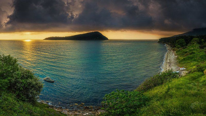 amazing, bay, clouds, greece, green, island, paradise, sea, sunrise, thassos,kinira Kinira Islandphoto preview