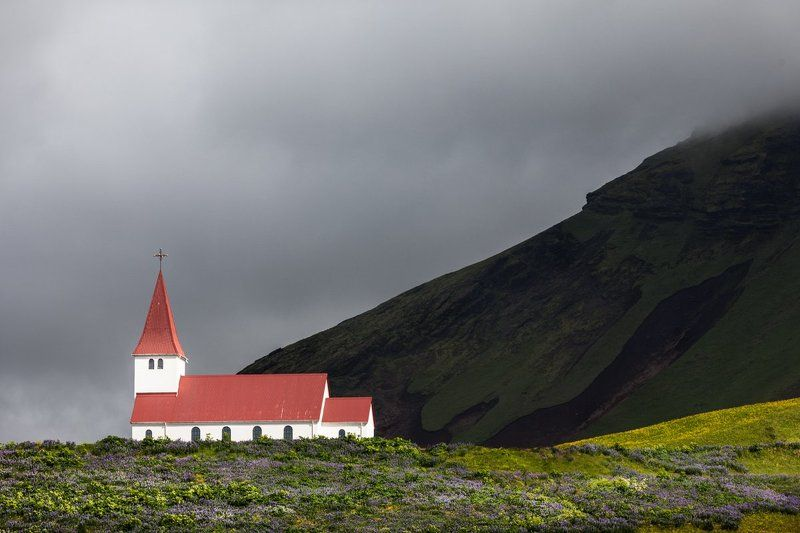 Iceland, Горы, Исландия, Церковь Церковь в горахphoto preview