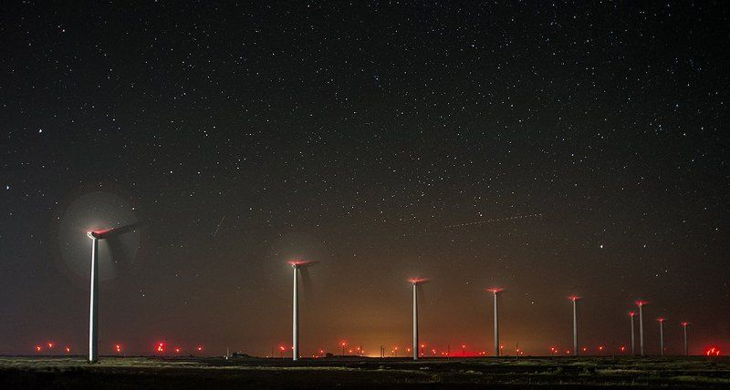 amazing, night sky, stars, wind turbines The Metal Forestphoto preview