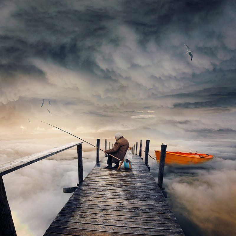 bird, bridge, calm, castle, cold, crow, dark, fairy, fly, fog, fruit, girl, gravity, island, lens, long exposure, manipulation, mist, motion, night, ocean, photoshop, psd, reflection, rocks, sky, storm, tower, tree, tutorials, water, wood, boy, flower, fo The dreamy fishermanphoto preview