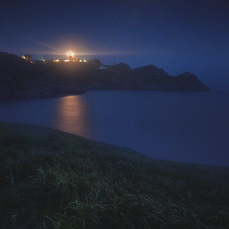 Дальний восток, Маяк, Маяк Гамов, Ночь, Россия, Японское море Маяк Гамовphoto preview