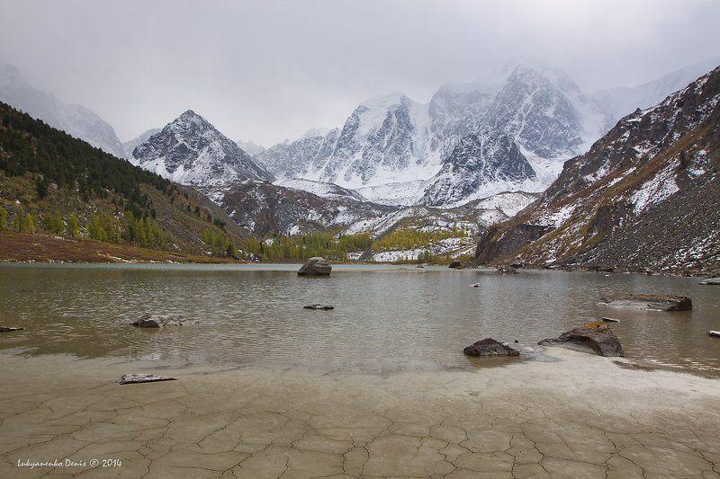 2014, Алтай, Горы, Деревья, Камни, Озеро, Осень, Россия, Снег ***photo preview