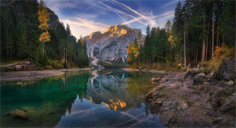 Italy, Lago di Braies, Горы, Ди брайес, Доломитовые альпы, Италия, Озеро, Отражение, Сосны \