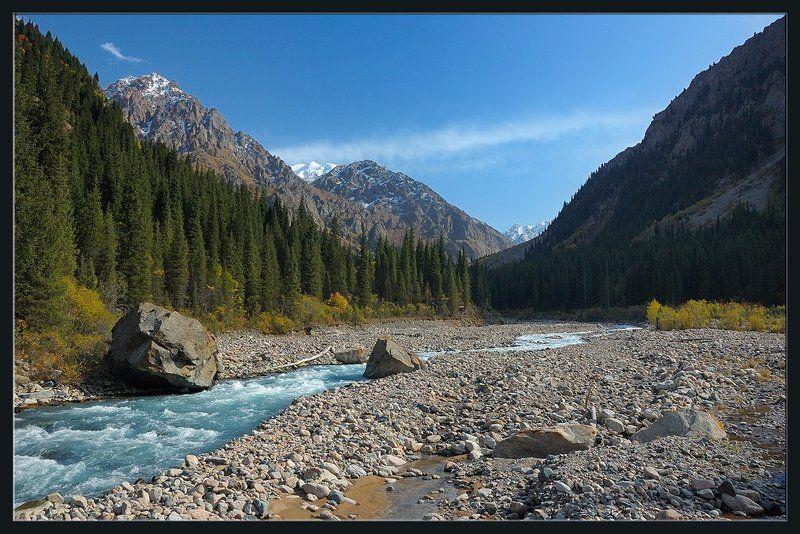 горы,природа,ущелье,река,вершины,скалы,цветы,облако,ущелье,лес,кусты,бревно Вечер на горной рекеphoto preview