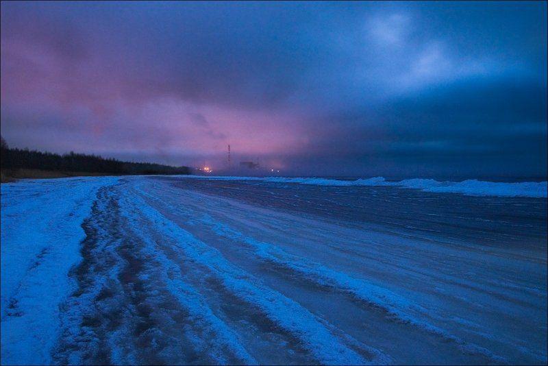Закат, Зима, Лёд, Снег, Финский залив Замерзшие волныphoto preview