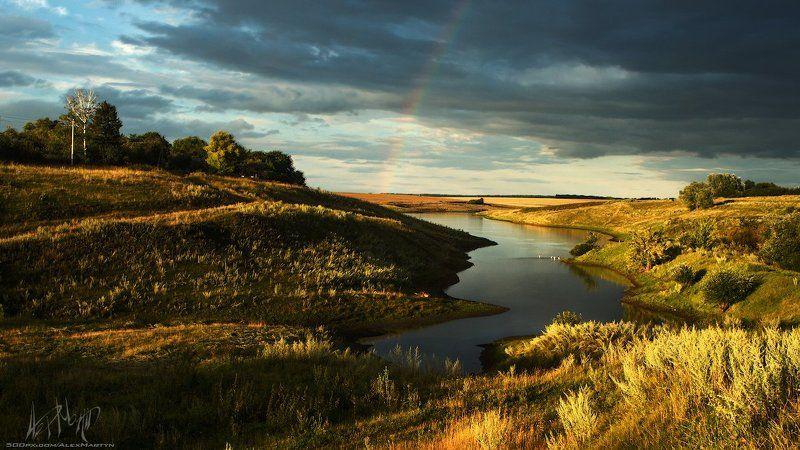 Небо, Озеро, Осень, Пейзаж, Поле, Радуга, Русский, Цвета ***photo preview