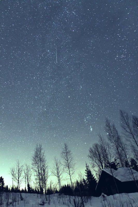 Звездное небо, Звезды, Зима, Млечный путь, Небо, Ночь, Орион, Север, Финляндия Зимняя ночьphoto preview