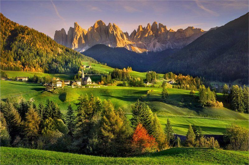 Alps, Autumn, Dolomites, Italy, Santa maddalena, Вечер, Доломитовые альпы, Италия \