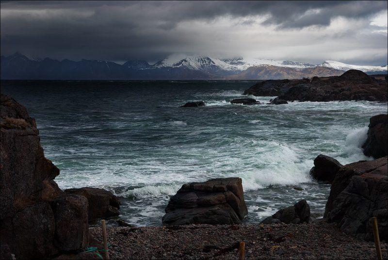 Берег, Горы, Море, Норвегия, Скалы, Тучи, Шторм Надвигается штормphoto preview