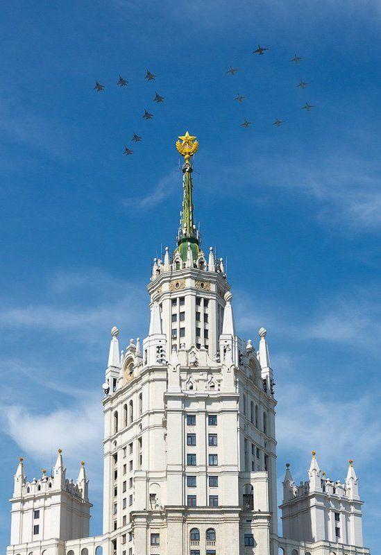 авиапарад, армия, ввс, котельники, москва, россия, самолет, сталинская высотка С Днем Победы!photo preview