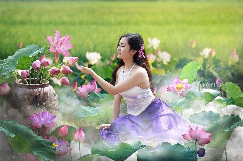 lotus, vietnam, girl, dream, beauty dream Lotus photo preview