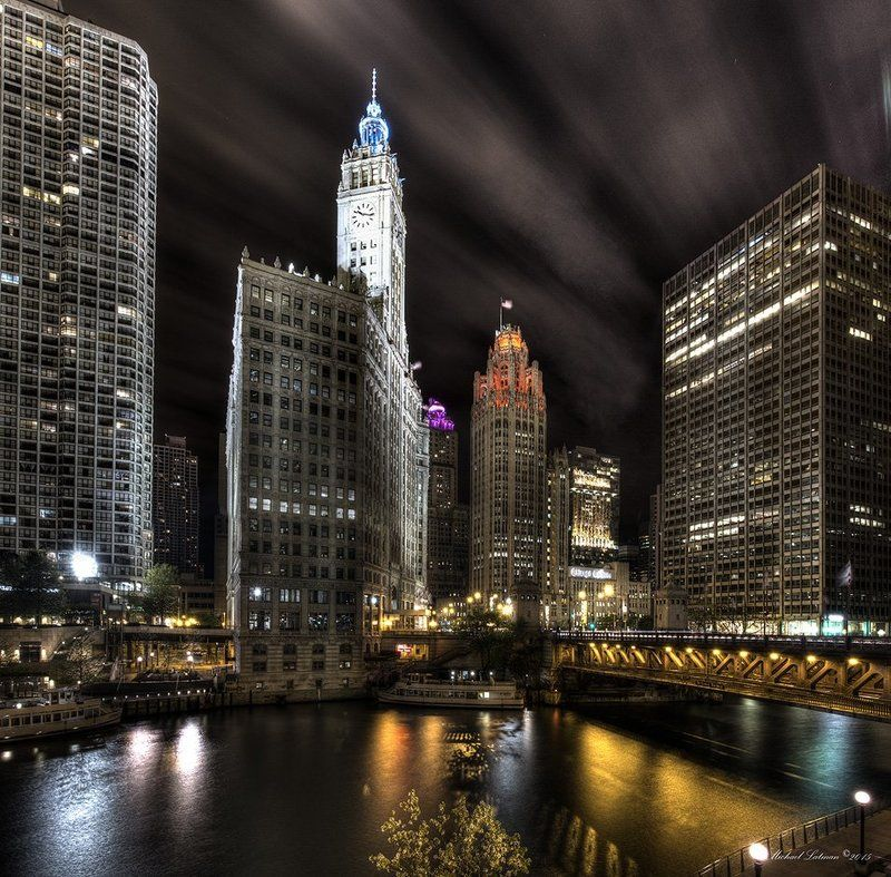 chicago, city, lights, melody johny guitar, night, river, sax, sky, windy One windy night in Chicagophoto preview