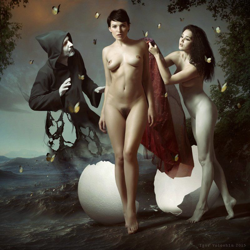igor voloshin, voloshin, painting, surrealism, computer art, photography, art, woman, nude Nascita di Venerephoto preview