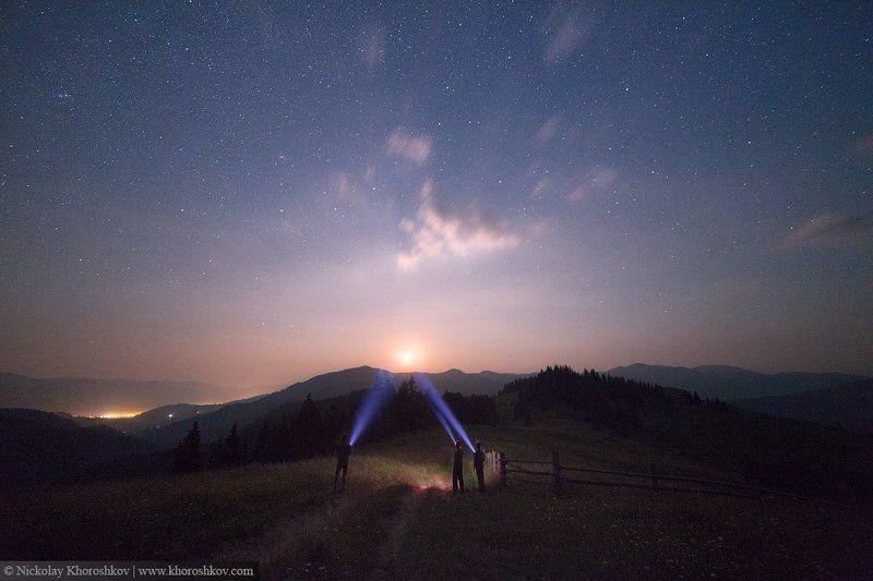 Горы, Карпаты, Ночной пейзаж, Пейзаж, Украина Подсвечивая лунуphoto preview