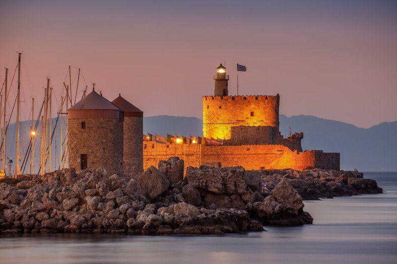 старый, город, родос, порт, мандраки, лето, закат, греция, summer, rodes, rhodes, mandraki, island, greece про уютный вечер порта Мандраки...photo preview