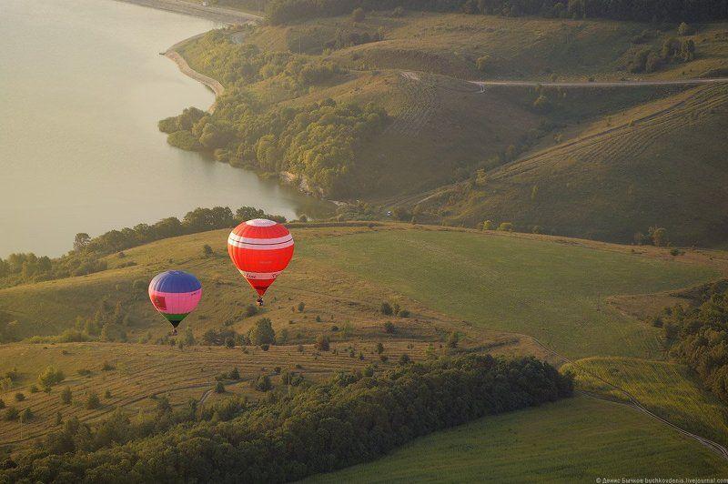 рассвет, природа, полет, воздушный шар, путешествие ***photo preview