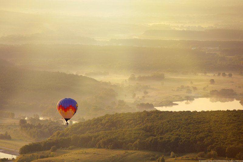 рассвет, природа, полет, воздушный шар, путешествие photo preview